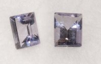 4x3mm, Blue Iolite-emerald cut