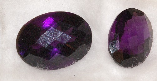 16.25x12.25mm, Purple Amethyst-Lab-Oval Checkboard