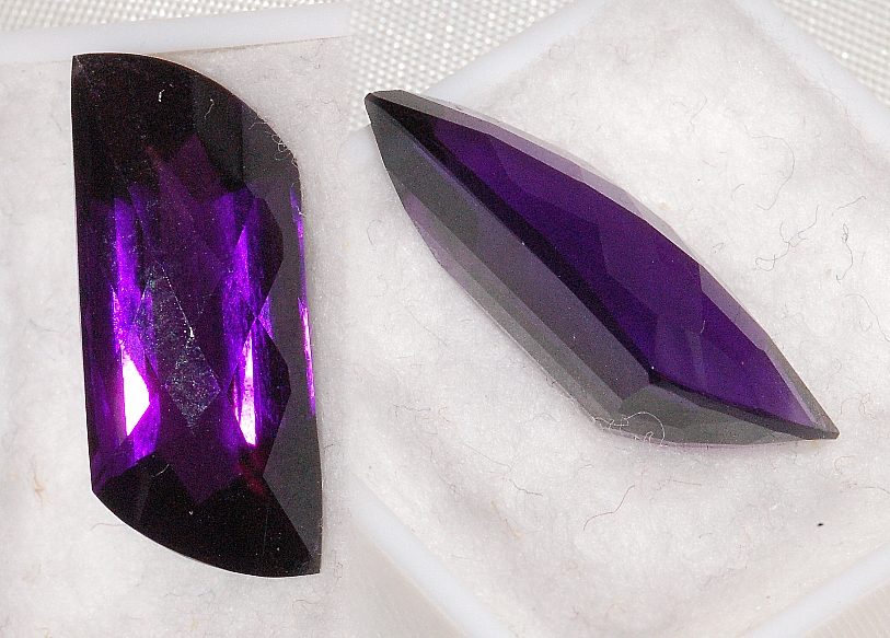 21.27x9mm, Purple Amethyst-Lab-Trapezoid Checkboard