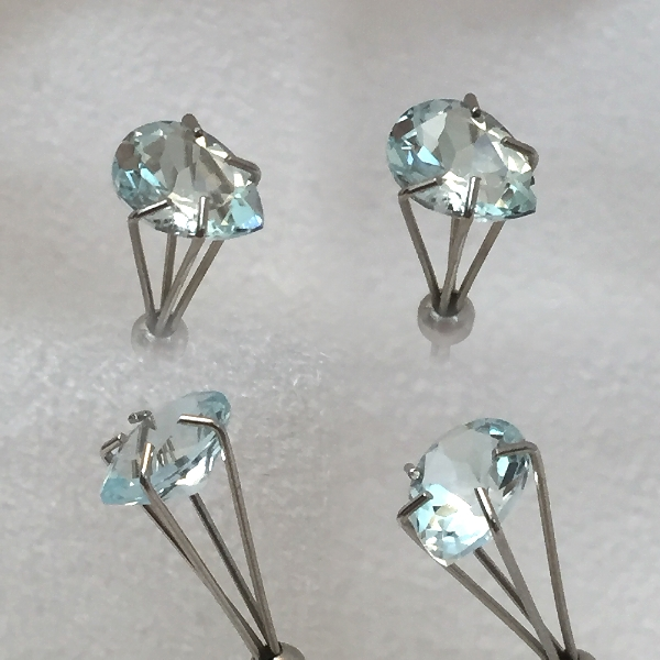 8x6mm,med Blue Aquamarine-pear