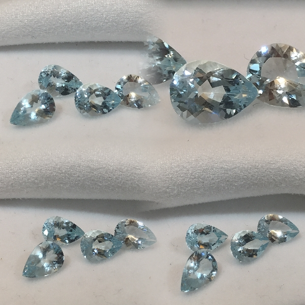 10x7mm,med Blue Aquamarine-pear shaped