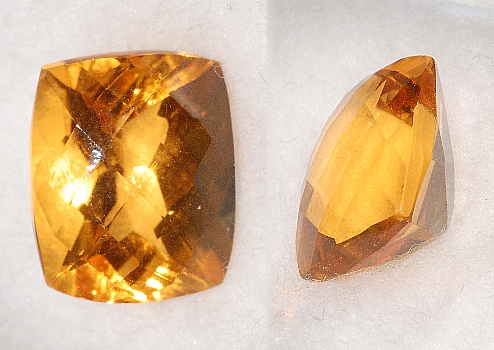 12x10mm, Gold-orange Citrine-Lab-Cushion Checkboard