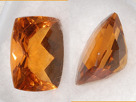 14x10mm, Gold-orange Citrine-Lab-Cushion Checkboard