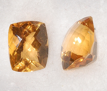 9x7mm, Gold-orange Citrine-Lab-Cushion Checkboard