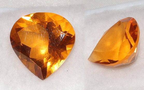 15.5 mm, Gold-orange Citrine-Lab-Heart (SweetHeart)