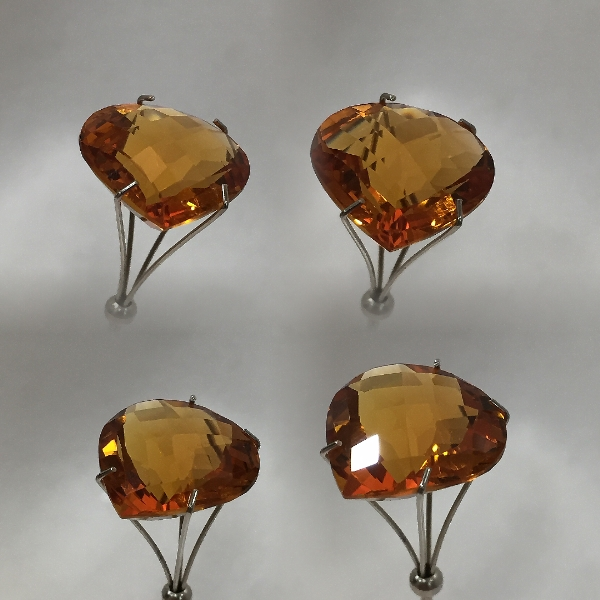 15 mm, Gold-orange Citrine-Lab-Heart (SweetHeart) Checkboard