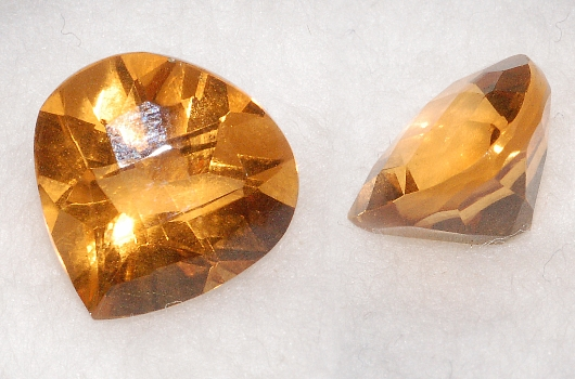 10 mm, Gold-orange Citrine-Lab-Heart (SweetHeart) Checkboard