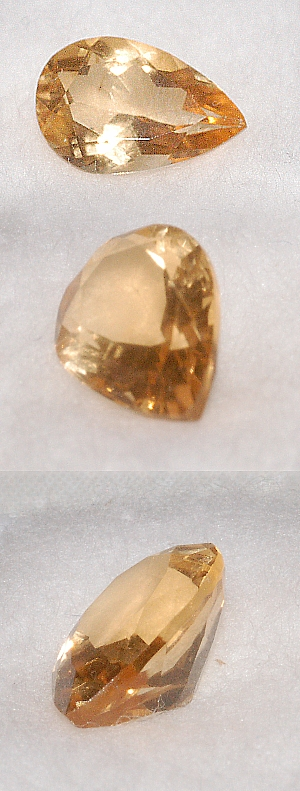 8x6mm, Yellow Gold Citrine-pear