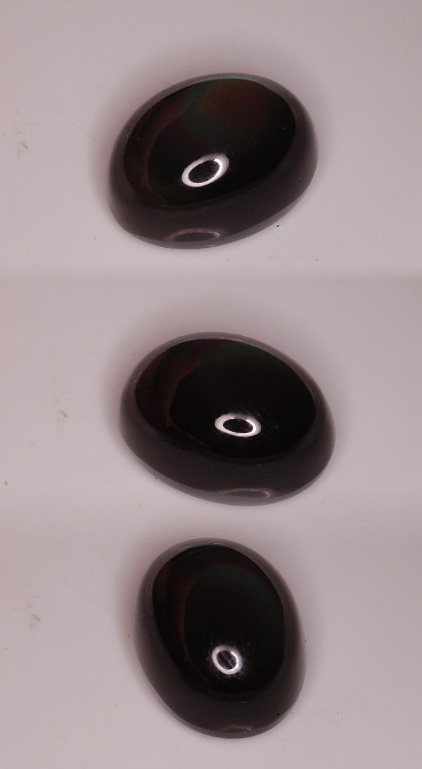 16x12mm, Black Obsidian Rainbow-oval-cab