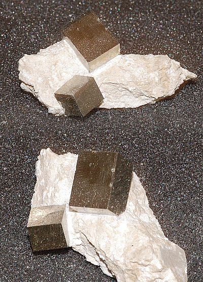13.19x9.91mm, 2 Cube Silver Pyrite-Specimens