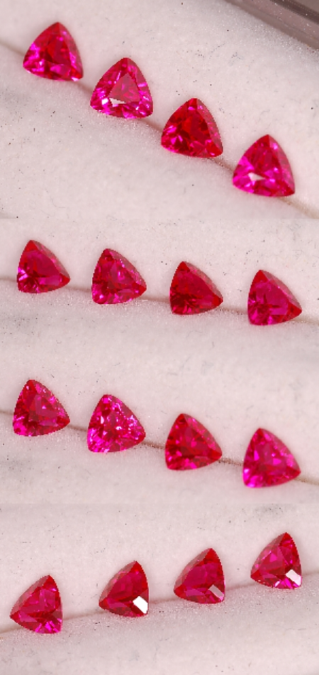 4 mm,Qty 4 Rubies-Lab-trillion