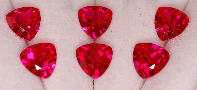 6 mm,1 pr Rubies-Lab-trillion