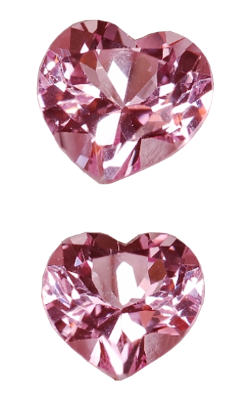 7 mm, Pink Sapphire-Lab-heart