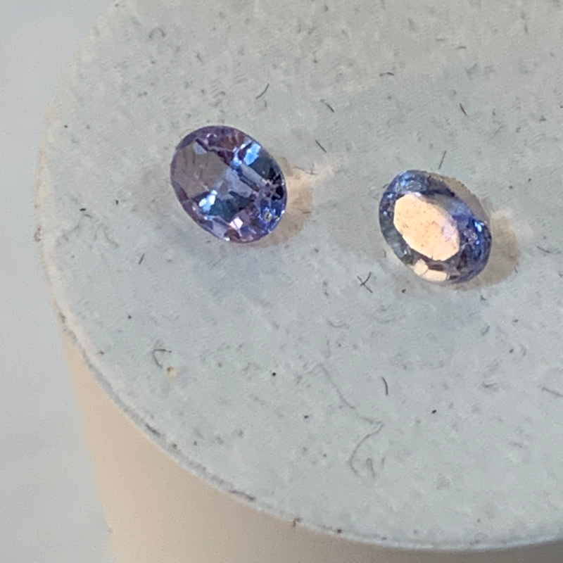 4.25x3.75mm,1 pair of Blue Sapphire-oval