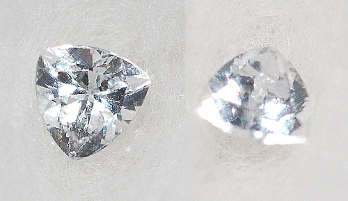 3.75 mm,Colorless White Sapphire-Trillion